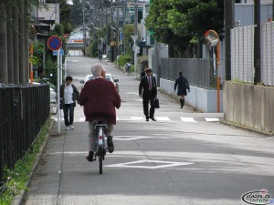 Old people on a bike, white collar worker, students, without cars. There is only one car, usually used by housewives to deliver her family to the train stations nearby.